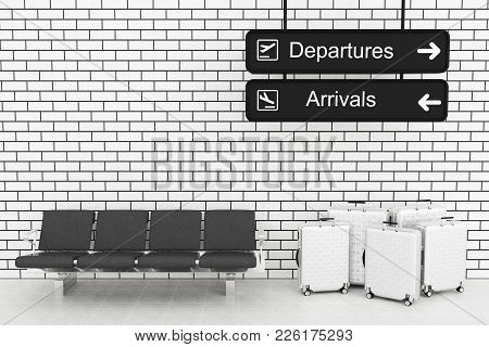 3D Airport Departure And Arrival Information Board With Travel Suitcase.