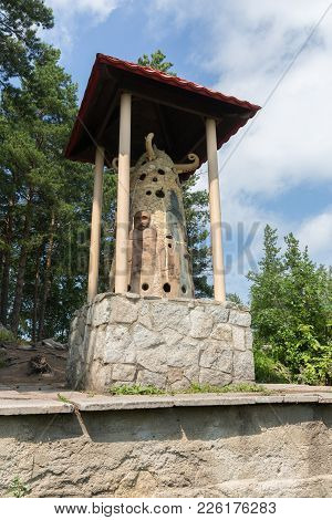 Altai, Russia - August 2, 2013: Sculpture The Owner Of The Mountain On Mount Tserkovka Resort Beloku