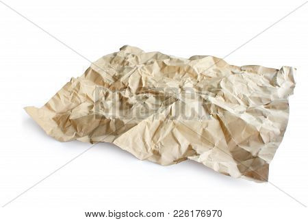 Crumpled Recycle Paper Isolated On White Background, Clipping Path.