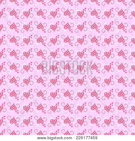 Vector Tender Sentiment. Wallpapers Delicate Pink Shades. Seamless Pattern Background. Textiles And