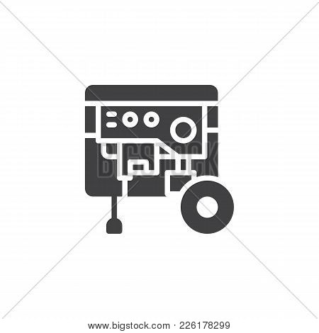 Portable Power Generator Icon Vector, Filled Flat Sign, Solid Pictogram Isolated On White. Electric