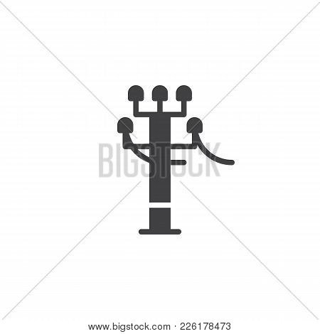 Tower Electricity Supply Icon Vector, Filled Flat Sign, Solid Pictogram Isolated On White. High Volt