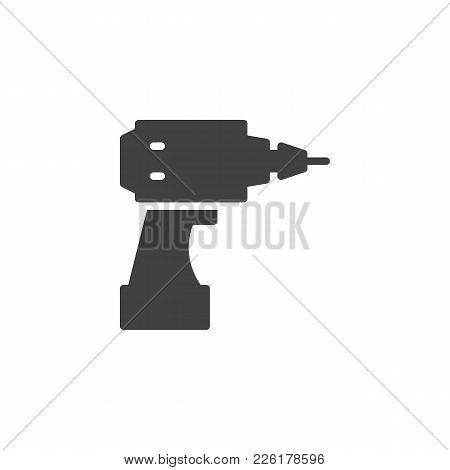 Cordless Drill Icon Vector, Filled Flat Sign, Solid Pictogram Isolated On White. Electric Screwdrive