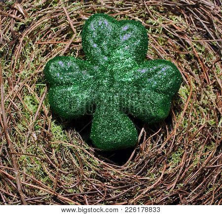 A Green Shiny Shamrock On A Green Mossy Background