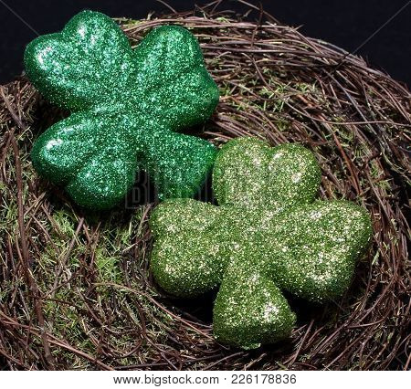 Two Shiny Shamrocks On A Green Mossy Background