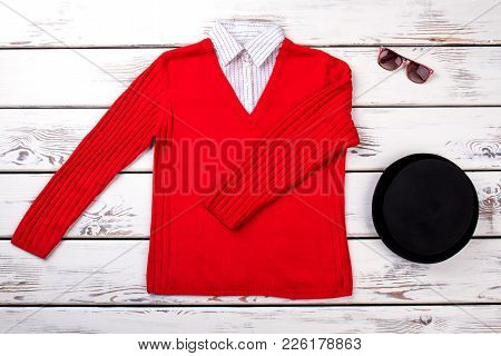 Female Fashion Sweater And Accessories. Women Knitted Red Sweater, Black Beret And Sunglasses. Flat