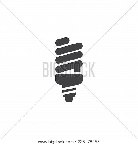Fluorescent Lamp Icon Vector, Filled Flat Sign, Solid Pictogram Isolated On White. Powersave Light B