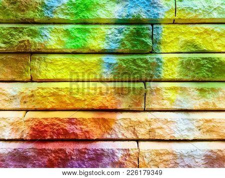 Detail Of A Colorful Joyful Graffiti On A Stone Wall.