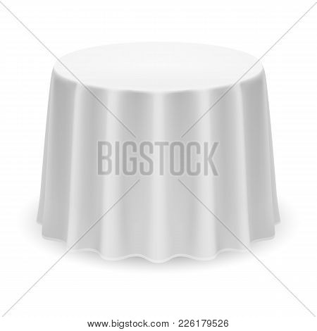 Isolated Blank Round Table With Tablecloth In White Color For Design