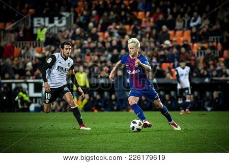 VALENCIA, SPAIN - FEBRUARY 8: Rakitic with ball during Spanish King Cup match between Valencia CF and FC Barcelona at Mestalla Stadium on February 8, 2018 in Valencia, Spain
