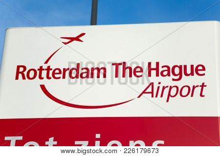 ROTTERDAM, THE NETHERLANDS - SEPTEMBER 13, 2017: Rotterdam The Hague airport welcome sign