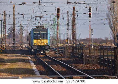 FUZESABONY, HUNGARY - DECEMBER 27, 2017: Passenger train arriving at Fuzesabony, an important hub og Hungarian Railways, MAV