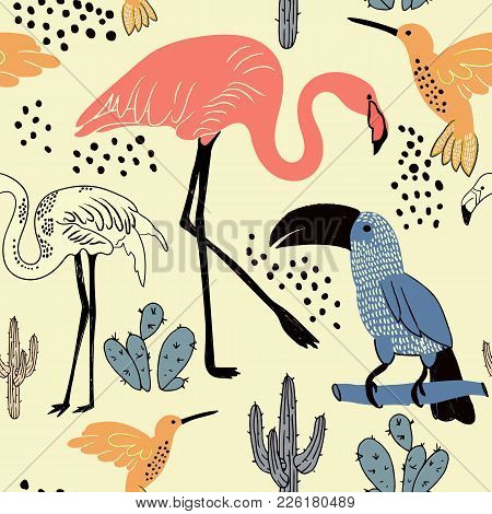 Abstract Hand Painted Seamless Animal Background. Flamingo, Toucan, Humming Bird, Cacti Pattern. Vec