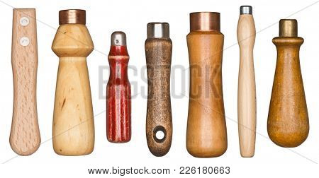 Wooden manual tool handles isolated on white background