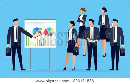 Presentation. Businessman Makes A Presentation In Front Of A Group Of People. Businessmen In A Flat