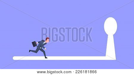 Business Man Running In Key Hole Light To Future Opportunity Concept Flat Vector Illustration