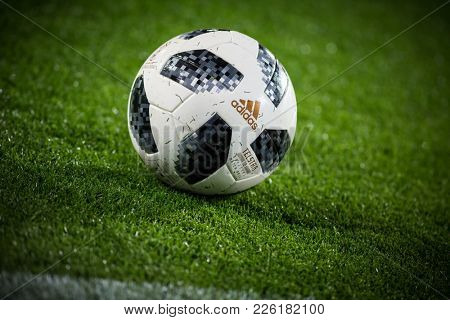 VALENCIA, SPAIN - FEBRUARY 8: Official ball during Spanish King Cup match between Valencia CF and FC Barcelona at Mestalla Stadium on February 8, 2018 in Valencia, Spain