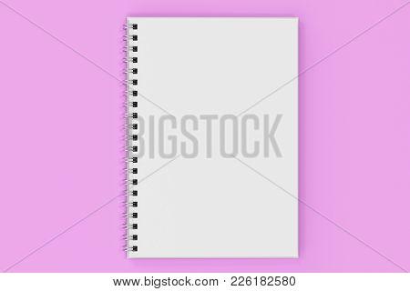 Opend Notebook Spiral Bound On Violet Background