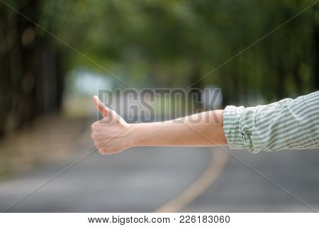 Close Up Woman Hand Hitchhiking At Countryside Road Near Forest,alone Travel Or Single Traveller Or