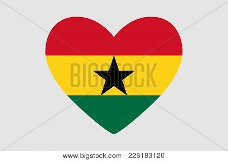 Heart Of The Colors Of The Flag Of Ghana, Vector
