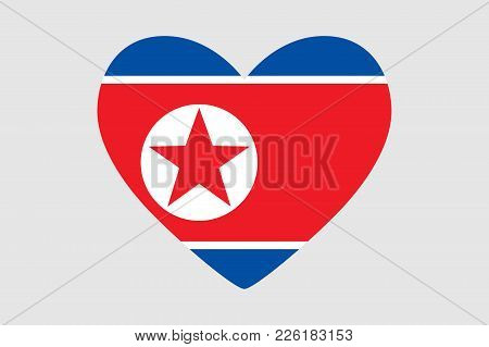 Heart Of The Colors Of The Flag Of North Korea, Vector