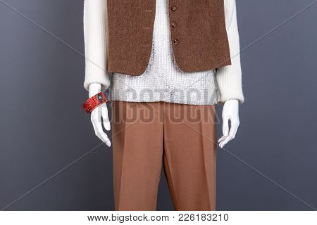 Combination Of White And Brown Female Apparel. Mannequin Wearing Fashion Women Clothes And Accessori