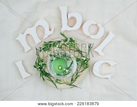 Green Flowers, Altar Candles For Imbolc Sabbath, With The Name Of The Celebration
