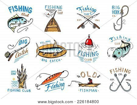Fishing Logo Vector Fishery Logotype With Fisherman In Boat And Emblem With Catched Fish On Fishingr
