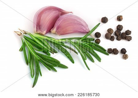 Garlic With Rosemary And Peppercorn Isolated On White Background. Top View.