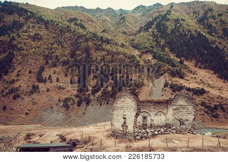 Remains Of Old Ruined Church, Dartlo Village. Adventure Holiday In Tusheti. Travel To Georgia Countr