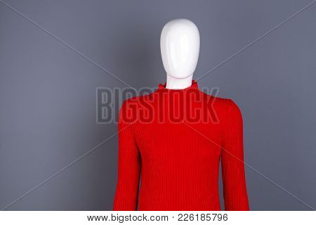 Mannequin In Red Fashion Turtleneck Sweater. Stylish Spring Pullover For Women. Ladies Classy Outfit