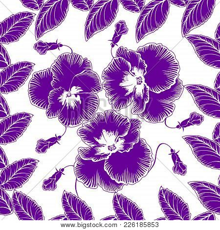 Seamless Pattern With Flowers Violets On A White Background
