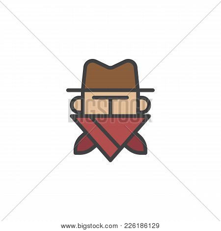 Robber In Mask Filled Outline Icon, Line Vector Sign, Linear Colorful Pictogram Isolated On White. C