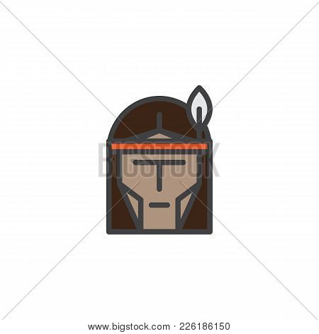 Native American Head Filled Outline Icon, Line Vector Sign, Linear Colorful Pictogram Isolated On Wh