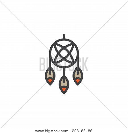 Indian Dream Catcher Filled Outline Icon, Line Vector Sign, Linear Colorful Pictogram Isolated On Wh