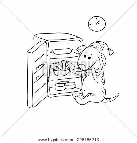 Vector Black-white Sketch Funny Cartoon Puppy. Character Hungry Dog In The Night Cap Sits By The Ope