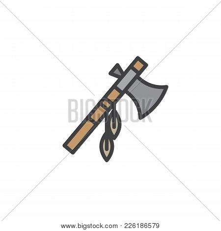 Indian Battle Ax With Feathers Filled Outline Icon, Line Vector Sign, Linear Colorful Pictogram Isol