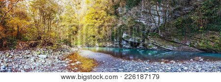 Evening Shadows In The Gorge Of The Khosta River In Autumn. Sochi National Park.