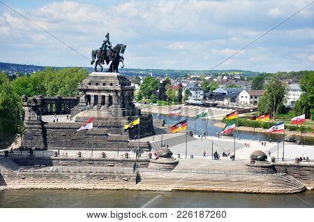 Koblenz City Germany 03.05.2011 - Koblenz City Germany With Historic German Corner Where Rhine And M