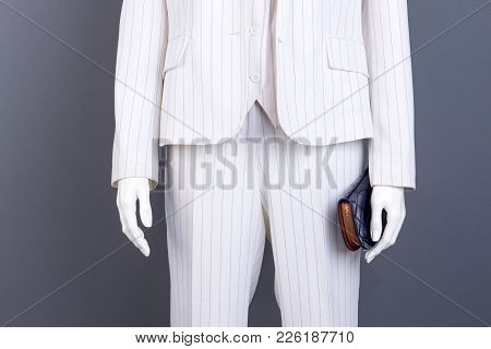 Mannequin With Blue Leather Wallet. Dummy Wearing Classy Office Suit, Cropped Image. Women Formal St
