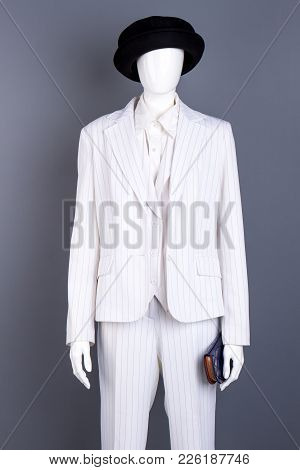 Mannequin In Feminine Formal Suit. White Blazer And Trousers For Women. Ladies Business Style Outfit