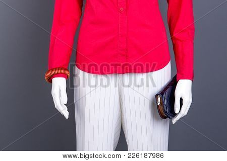 Red Blouse, Bracelet And Wallet. Female Red Shirt And White Striped Trousers. Women Classic Outfit.