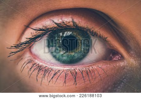 Detailed View Of Open Eye Of Woman - Macro Photography Of A Beautiful Female Face - Retro Style