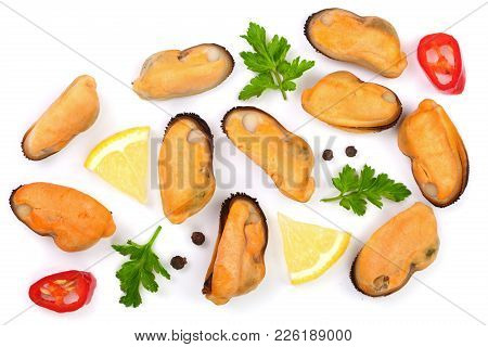 Mussels With Parsley Lemon And Peppercorns Isolated On White Background. Top View. Flat Lay.