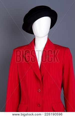 Black Hat And Red Female Jacket On Mannequin. Women Classy Red Blazer And Black Classic Headgear. La