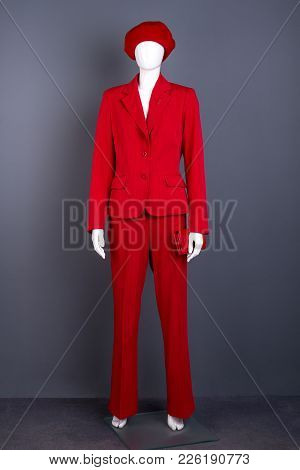 Female Mannequin In Red Outfit. Red Beret, Suit And Wallet For Women. Ladies Elegance And Style.