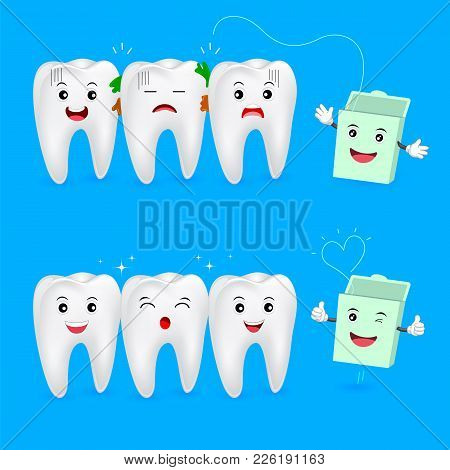 The Remnants Of Food Stuck In Teeth, Need To Clean It. Tooth Character With Dental Floss, Illustrati