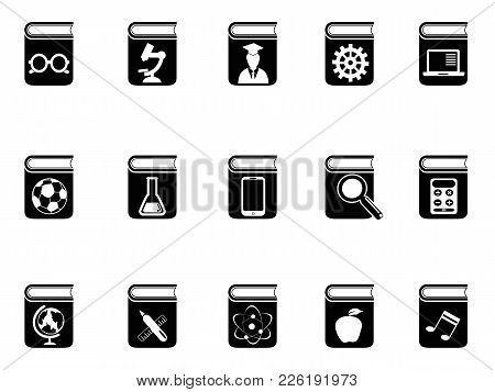 Isolated Black Book Icons Set From White Background
