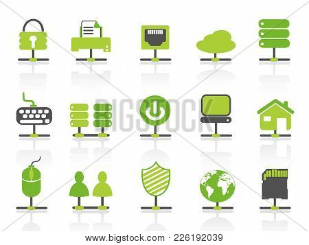 Isolated Green Color Network Connection Icons Set From White Background