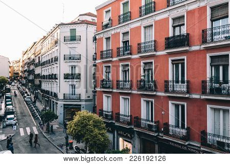 Madrid, Spain - May 1, 2017: High Angle View Of Buildings In Chueca District In Centre Of Madrid. Au